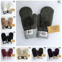 Wholesale Gloves Women Fur - Warm Winter Fur Ball Gloves Windproof Fur Finger Gloves Cashmere Wool Female Mitten 8 Colors 10 Pairs LJJO3319