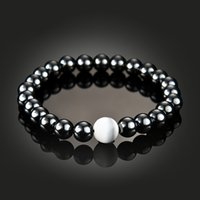 Wholesale magnetic hematite stone - New Magnetic Hematite Pearl Bracelet Stone Bead String Wristband Bangle Cuff for Women Men Power Healthy Fashion Jewelry 162548