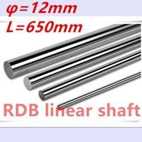 Wholesale 12mm Linear Rail Shaft - Wholesale- New 2pcs lot 12mm linear shaft 650mm 12mm linear rail bushing shaft cnc linear rail 12mm rod