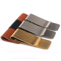 Wholesale Leather Carrying Case Vintage - Wholesale-Vintage Leather Metal Pencil Pen Holder Clip Carry Case Bookmark Clips