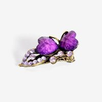Wholesale Purple Butterfly Hair Clips - Fashion Vintage MINI Colorful Women Retro Crystal Hear Butterfly Hairpins Hair Clip for women girls DHF239