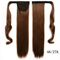 Wholesale Long Auburn Ponytail Extension - Wholesale-Fake Hair Ponytail 23.6 inch Synthetic Long Straight Clip In Ribbon Hair Extension hairpiece Multicolor 0025
