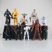 Wholesale Master Yoda - Star Wars Darth Maul Darth Vader Master Yoda Doll Luke Skywalker Stormtrooper Action Figure Model Toy 10pcs set 14cm