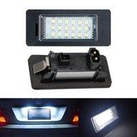 bmw led ampuller toptan satış-2 adet 18 LED Hata Ücretsiz Araç Lisans Numarası Plaka Işık Lambası Ampuller Fit BMW E90 M3 E92 E70 E39 F30 E60 E93 E82 E88 F20 F21