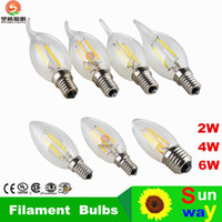 Wholesale E27 Cree Led Candle Bulb - led lights Retail chandelier bulbs E14 E12 E27 Led Candle bulb led lamps led lighting 2W 4W 6W modern silver golden Lights