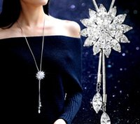 Pendant Necklaces sprout charmed - The new high grade crystal flower necklace long dress accessories pendant flash tassel sweater chain sprouting sprouting act the role ofing