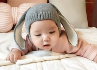 Wholesale Red Eat - Autumn Winter Toddler Infant Knitted Baby Hat Adorable Rabbit Long Eat Baby Bunnty Beanie Cap Photo Props