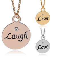 Wholesale laugh necklace - 3 pcs set Best Friends For 3 Live Love Laugh Hand Stamped Letter engraves Charm Family Jewelry crystal rose gold coin Pendant Necklaces