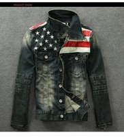 Wholesale Leather Suit For Motorcycle - Wholesale- 2015 New Mens American Flag Suit Jeans Jacket PU Leather Patchwork Vintage Distressed motorcycle Denim Jacket For Men coat