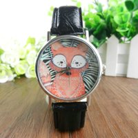 New Arrival Brand Relógios de pulso Unisex Men Women Lovers Black White Stripe Fox Dial couro Analog Quartz Wrist Watch 100pcs / lot