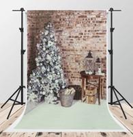 ingrosso fotografia sfondo natale di natale-Digital Gray Brick Wall Backgrounds for Photography 5x7ft Albero di Natale Fondali Foto Bianco Coperta Fondale di tiro