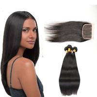 paquete de pelo virginal de malasia mezclado al por mayor-7A Pelo liso de Malasia 3 paquetes con cierre Tramas de cabello humano sin procesar virgen Extensiones de cabello Trato con longitudes mixtas