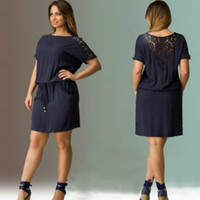 Wholesale dresses size 6xl - Summer Short Sleeve Lace Dress big sizes 2017 new women summer Hollow Out Plus Size Knee-Length dress party dress vintage vestidos L-5XL 6XL