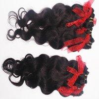 уток для наращивания волос цены оптовых-Новые прически объемной волны расширения 100% человеческих волос обрабатываются самая дешевая цена 9 шт. / лот натуральный цвет Малайзийские утки волос быстрая доставка