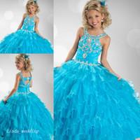 cupcake kid festzug kleid kurz groihandel-Cute Blue Girl Festzug Kleid Prinzessin Perlen Rüschen Party Cupcake Abendkleid Für Kurze Mädchen Hübsches Kleid Für Kleines Kind