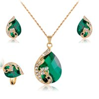 Wholesale Wholesale Indian Bridal Necklace Set - Jewelry Sets For Women Wedding Bridal Dress Accessories Water Drop Crystal Necklace Earrings Set Gold Plated Party