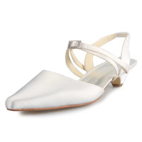 Wholesale Ivory Satin Flats Shoes - Ivory Flat Small Low Heel crystal buckle Women Bridal Wedding Shoes Wedding Dress Shoes From Size 35-Size 42 Any Color is accepted