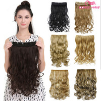 Wholesale Blonde Hair Clip Piece - Best quality Clip in hair extension 5clips one pieces 130g full head body wave 30color brown blond in stock synthetic hair fast shipping