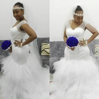Wholesale Full Chiffon Skirt - 2017 Plus Sizes Full Beaded Wedding Dresses Sheer V Neck Ruffle Tulle Mermaid Skirt Bridal Gowns