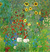 Wholesale Classical Nude - Genuine Handpainted Gustav Klimt Art Oil Painting On High Quality Canvas, Bauerngarten mit Sonnenblumen Multi Sizes Available
