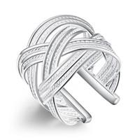 ingrosso grandi anelli economici-925 gioielli in argento placcato anello fine moda grande maglia tessitura gioielli in argento donne uomini regalo aperto e ridimensionabile anelli di barretta prezzo a buon mercato