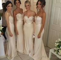 Wholesale Affordable Sweetheart Wedding Dresses - Affordable Ivory sweetheart blingbling sequins top sheath prom dresses wedding prom party gowns long bridesmaid dresses 2017