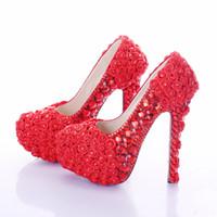 высокие каблуки розовые цветы оптовых-Красный Супер Высокий Каблук Роза Цветок Свадебное Платье Обувь Горный Хрусталь Свадьба Пром Обувь Леди Платформы Каблуки