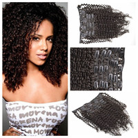 Wholesale human hair clips 1b resale online - Peruvian Clip in Human Hair Extensions Peruvian kinky curly Clip in Extension black color b set G EASY