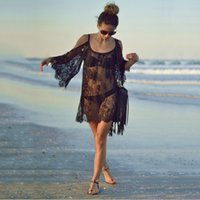 Wholesale Sexy Fashion Swimsuit - Women Summer Swimsuit Beachwear Bikini Beach Cover ups Vestidos Swimwears Floral Sexy Lace Crochet Fashion Mini Tunic Dress 2506026