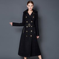 Wholesale Black Military Wool Trench Coat - Womens Extra long Black wool blend double breasted Military trench coat jacket L wool coatW  Metallic Buttons