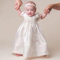 Wholesale Christening Dresses Boys - 2016 White Ivory Ankle-length Fashion Baby Birthday Dress Vestido de festa longo Baby Girl Christening Gowns baby Boy Dress Custom Made