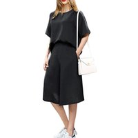 Wholesale Womens Tops Size Large - New Spring Autumn Casual Half Sleeve Rompers 2016 Womens Elegant 2PCS Jumpsuit Loose Playsuit Tops+Pants Large Size XL-5XL