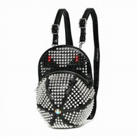 Wholesale Alligator Leather Hat - 2017 Amliya Fashion Rivet Monster Backpacks Handmade Leather Hat Shape Bagpack Punk Style Mochila Diamond Rhinestone Bags