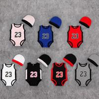 erkekler için bebek şapkaları toptan satış-Bebek dijital romper yaz bebek 23 numara Tulumlar çocuk şapka tırmanma giysileri ile şapka çocuğun numarası tulum bebek Giysileri