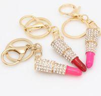 Wholesale Lipstick Charm Pendant - Charm Crystal Keychain Lipstick Key Holder Rhinestone Keyring Keyfob Red Rose Pendant Key Chain Rings Women Jewelry