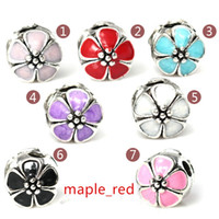 Wholesale Metal Stopper Beads - 50pcs Lot Beautiful Enamel Flower Metal Stopper Clip Charms for Jewelry Making DIY Beads for European Bracelet Wholesale in Bulk Low Price