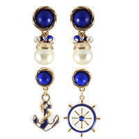 Wholesale Wholesale Gold Anchor Stud Earrings - Fashion 2 Styles Blue Stud Earrings,Wholesale Women's Epoxy Earrings With Pearl Anchor Steering Wheel Jewelry Accessories KL709