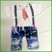 Wholesale Baby Bodysuit Formal - baby boys rompers spring season chidlren jumpsuits red white color shorts jeans t-shirt newborn bodysuit outfits one-piece free shipping