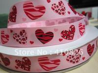 Wholesale Pink Zebra Print Ribbon - WM ribbon wholesale 7 8inch 22mm pink heart zebra leopard on pink print grosgrain ribbon hairbows free shipping <$18 no tracking