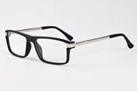 iron großhandel-Herren Designer Sonnenbrille für Frauen Büffel Horn Brille rechteckig klar Spiegelglas mit schwarzen Eisen Box Brille günstige Designer-Sonnenbrille