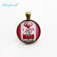 Wholesale heart cabochon glass - G004 Red Heart I Love you to the moon and back Glass Cabochon Charms Pendants for Necklace Jewelry Making DIY Handmade 25mm