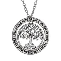Wholesale dreams necklace for sale - Group buy Hot New Europe and America Happy Tree Necklace quot love dream hope trust quot Pendant Necklace