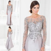 Wholesale Long Sequin Evening Jackets - Silver Sheer Long Sleeves Evening Gowns Mermaid Backless Side Split Sweep Train Sequins Sash Elegant Mother of the Bride Dresses 2016