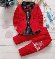 Wholesale Down Boy Set - Autumn Children Boys Fake 2 pcs Dotted Long Sleeve Shirt+ Pants Sets With Bowtie Gentleman Boy Fashion Cotton Suit Outfits B4339