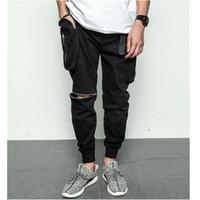 Wholesale Hip Hop Baggy Sweatpants - Wholesale-black white Big pockets quality zipper cargo baggy mens hip hop streetwear jogger pants harem sweatpants trousers