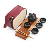 Wholesale Tea Set Suit - kung fu tea set teapot tea cup suit - Travel Ceramic Teapot & 4 Teacups & Tea Tray with Bag etc
