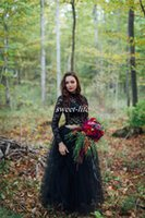 Wholesale colorful crop tops - Moody and Dark Forest Wedding Dresses Black Crop Top Lace Skirt Long Sleeve A-Line Tulle Plus Size 2016 Spring Summer Gothic Bridal Gowns
