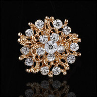 Wholesale Circle Rhinestone Brooch - Hot sale Women Lady Accessories Crystal Circle Flower Interspersion Breastpin Wedding Brooch Pins Best Gift small size