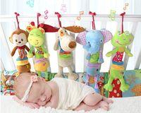 Wholesale Monkey Bedding - New Animal Handbells Rattles Frog Giraffe Dog Monkey Elephant Infant Hanging with Bell Bed Stroller Baby Newborn Soft Plush Toys