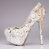 Wholesale White Diamond High Pumps - New 2016 Luxury Wedding Shoes Glitter Sequins Pearl Bow Formal Party Sparkling Single Diamond Bridal High Heel Shoes EM01432